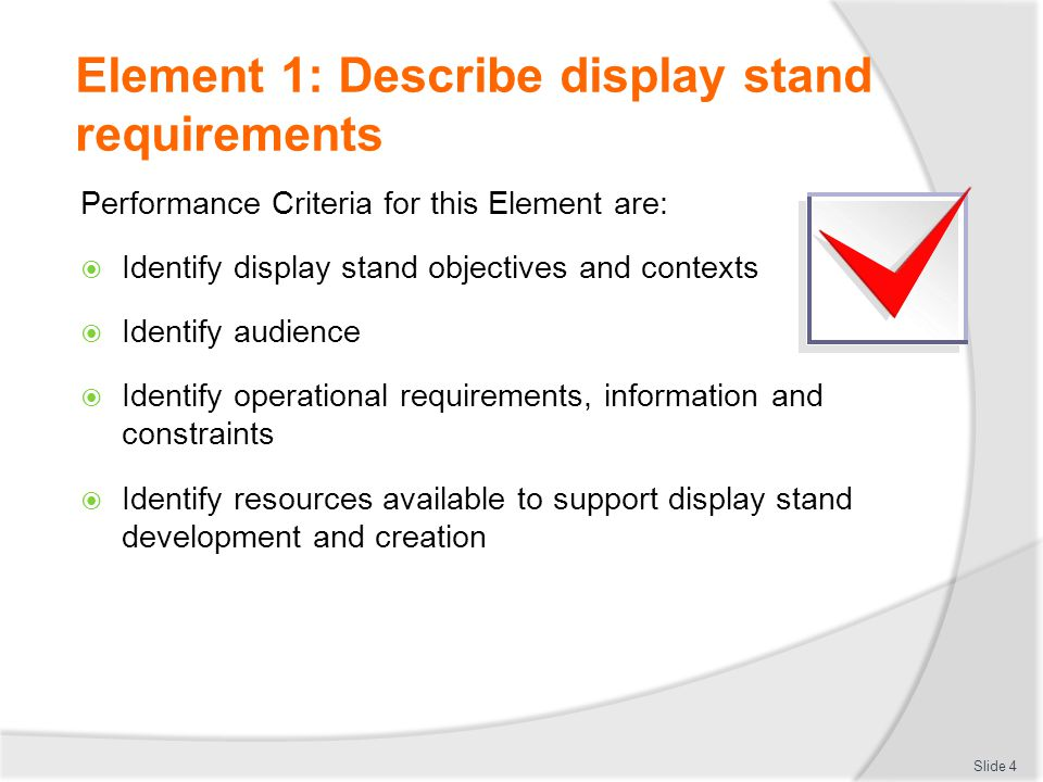 Element 1: Describe display stand requirements