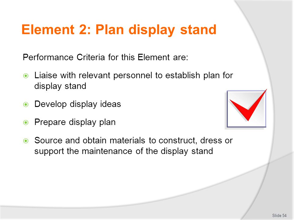 Element 2: Plan display stand