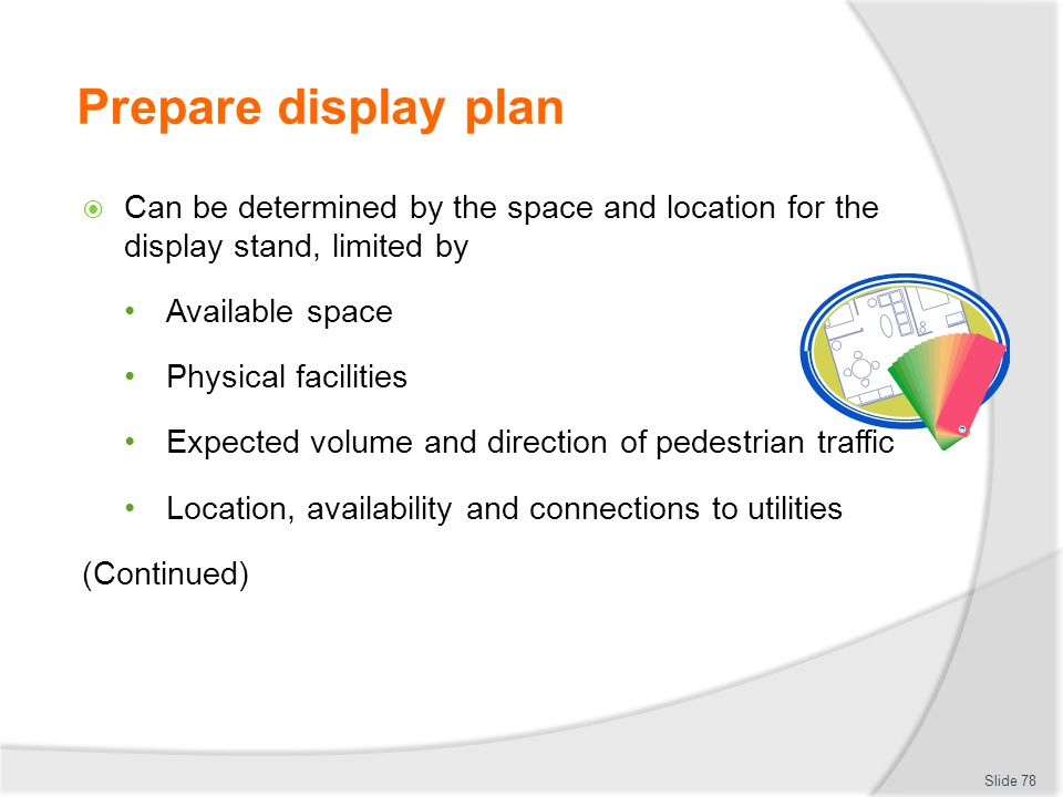 Prepare display plan Can be determined by the space and location for the display stand, limited by.