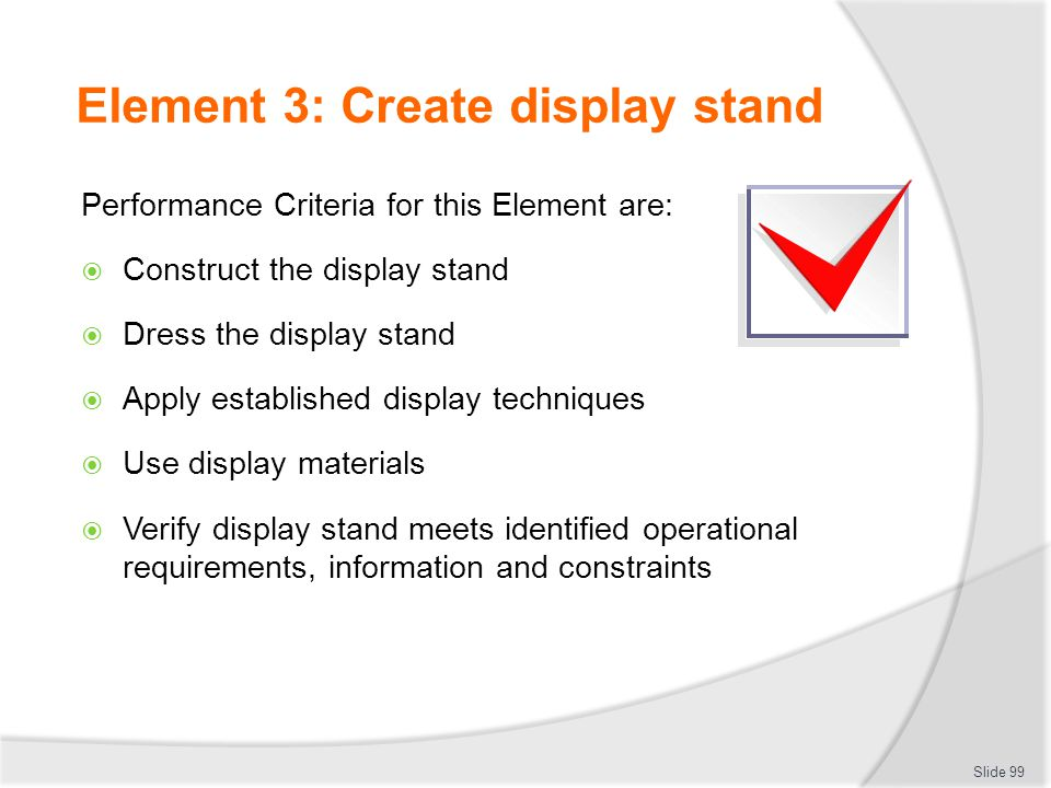 Element 3: Create display stand