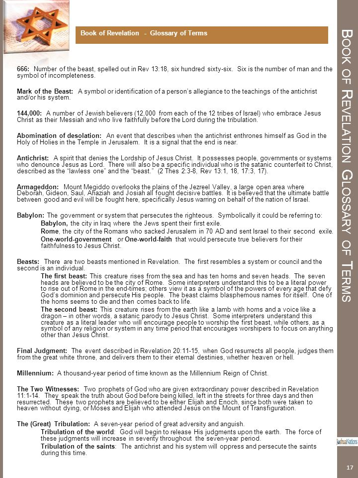 Book of Revelation Glossary of Terms