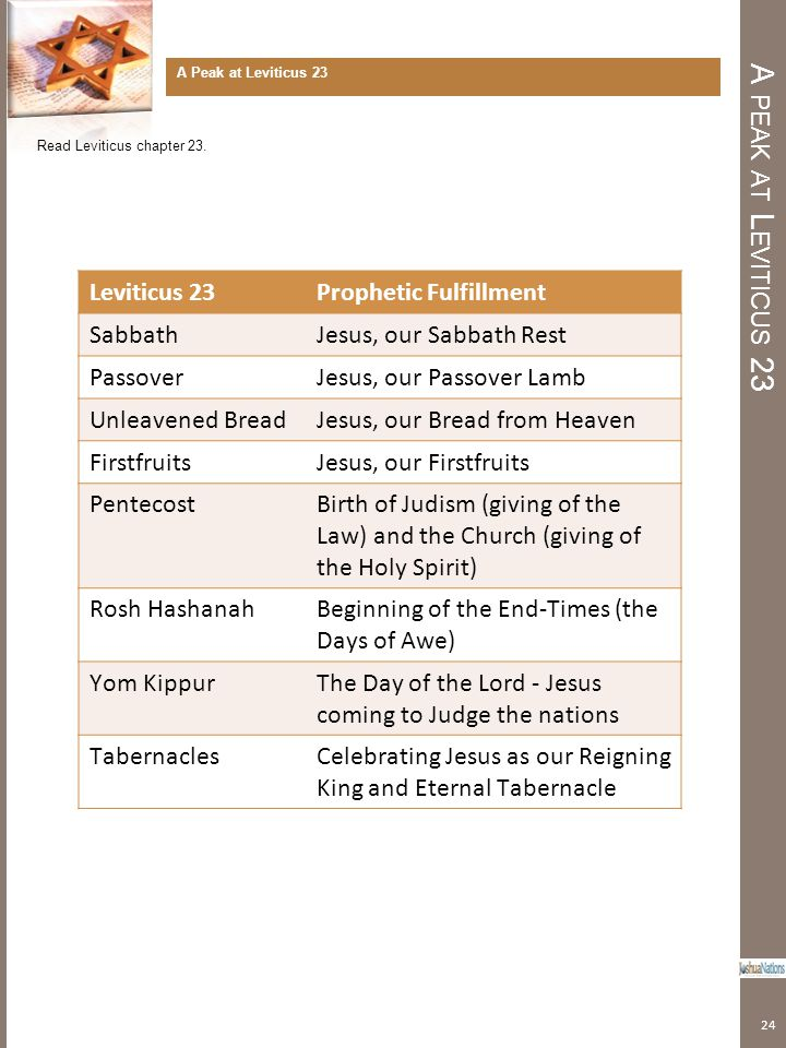 A peak at Leviticus 23 Leviticus 23 Prophetic Fulfillment Sabbath