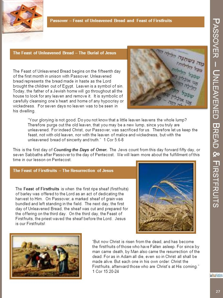 Passover – Unleavened Bread & Firstfruits