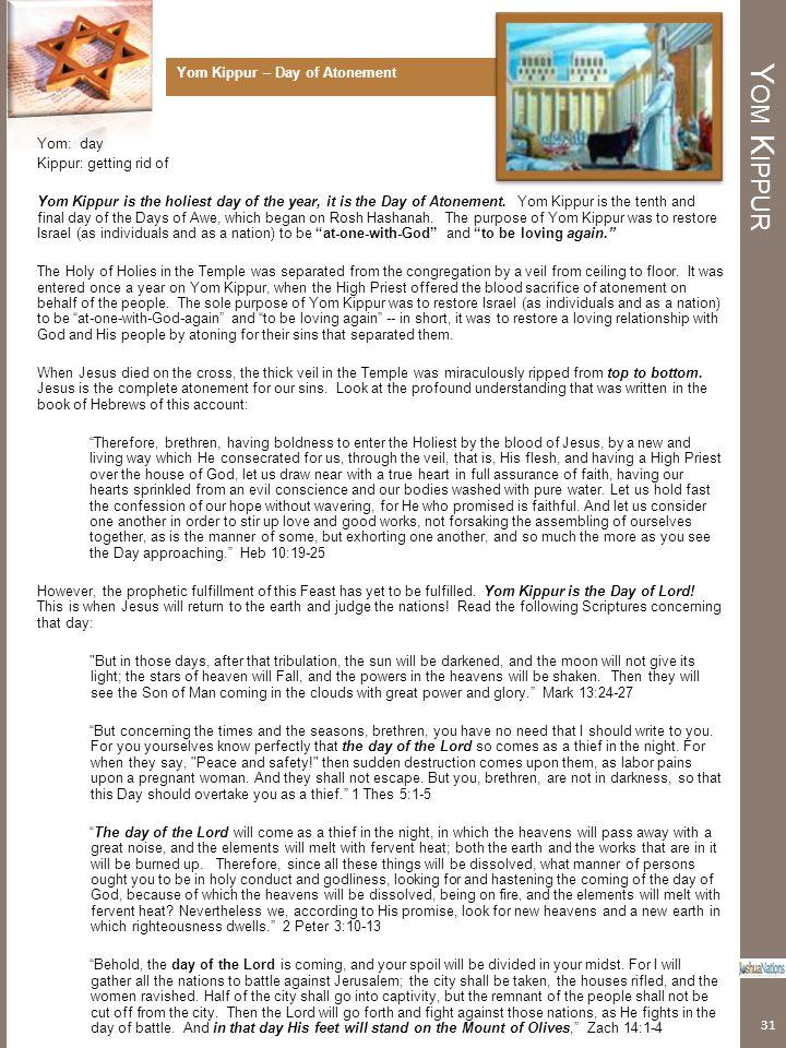 Yom Kippur Yom Kippur – Day of Atonement