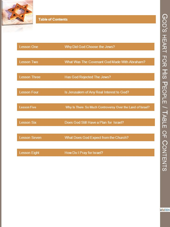 God's heart for His People / Table of Contents