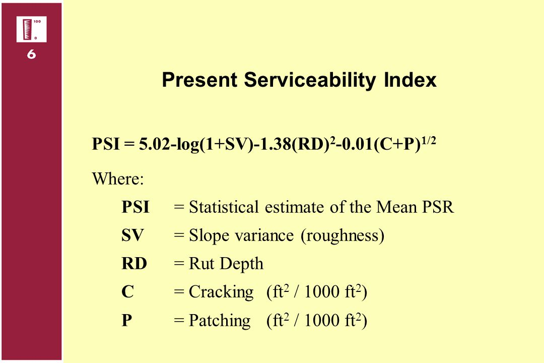 Present Serviceability Index