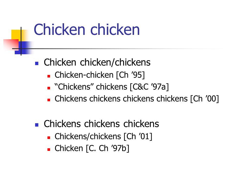 Chicken chicken Chicken chicken/chickens Chickens chickens chickens