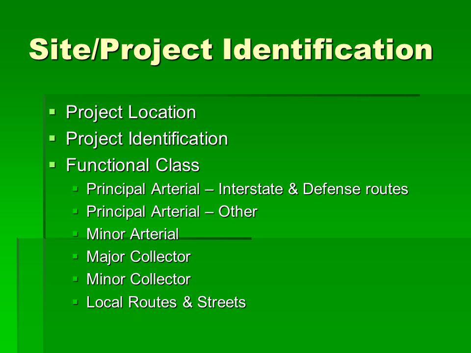 Site/Project Identification