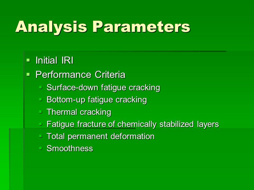 Analysis Parameters Initial IRI Performance Criteria