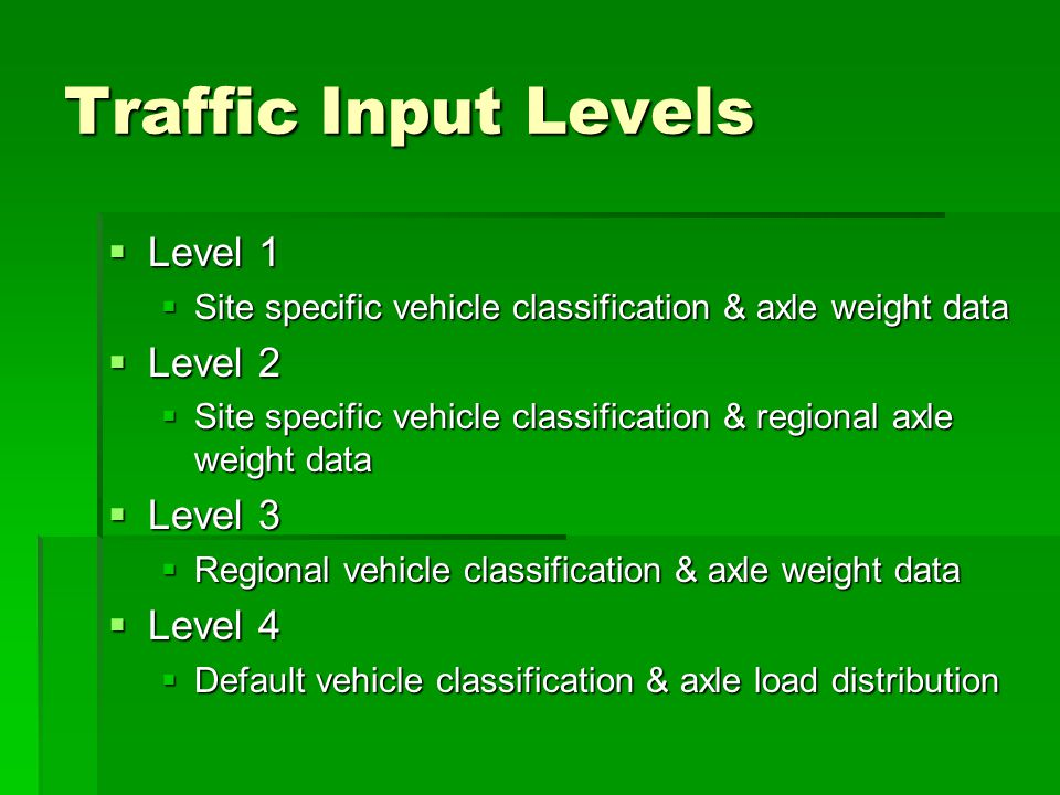 Traffic Input Levels Level 1 Level 2 Level 3 Level 4