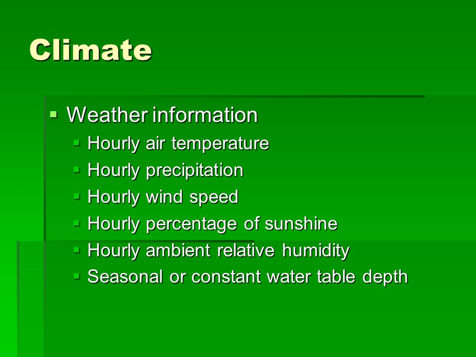 Climate Weather information Hourly air temperature