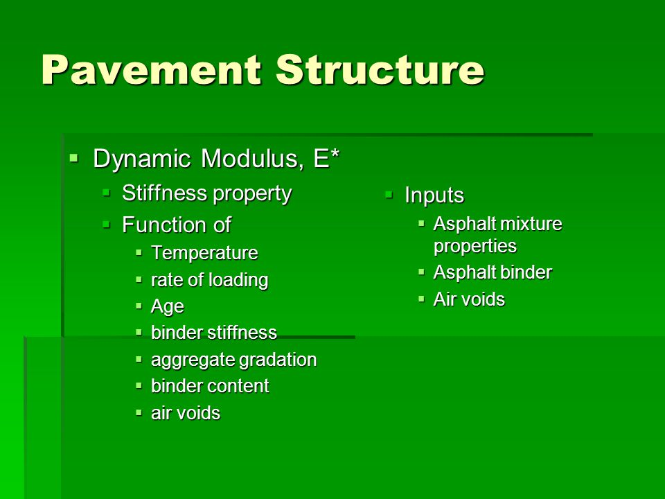 Pavement Structure Dynamic Modulus, E* Stiffness property Function of