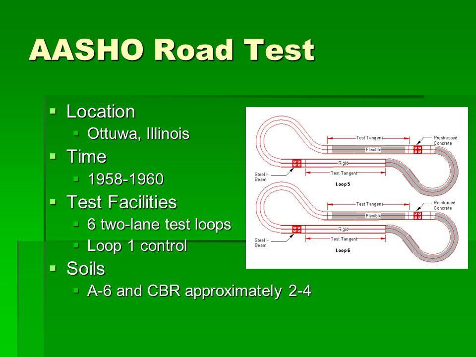 AASHO Road Test Location Time Test Facilities Soils Ottuwa, Illinois