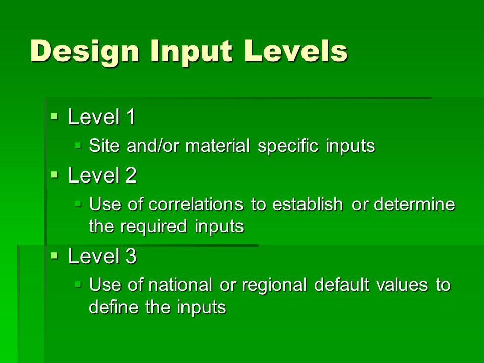 Design Input Levels Level 1 Level 2 Level 3