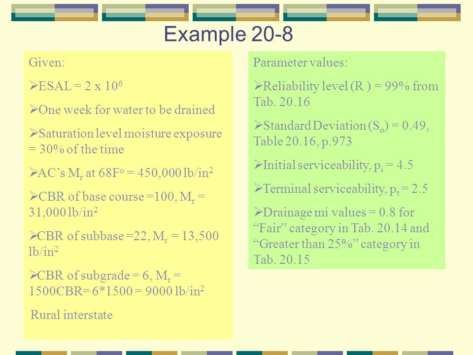 Example 20-8 Given: ESAL = 2 x 106 One week for water to be drained