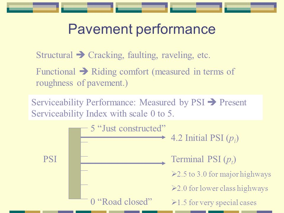 Pavement performance Structural  Cracking, faulting, raveling, etc.