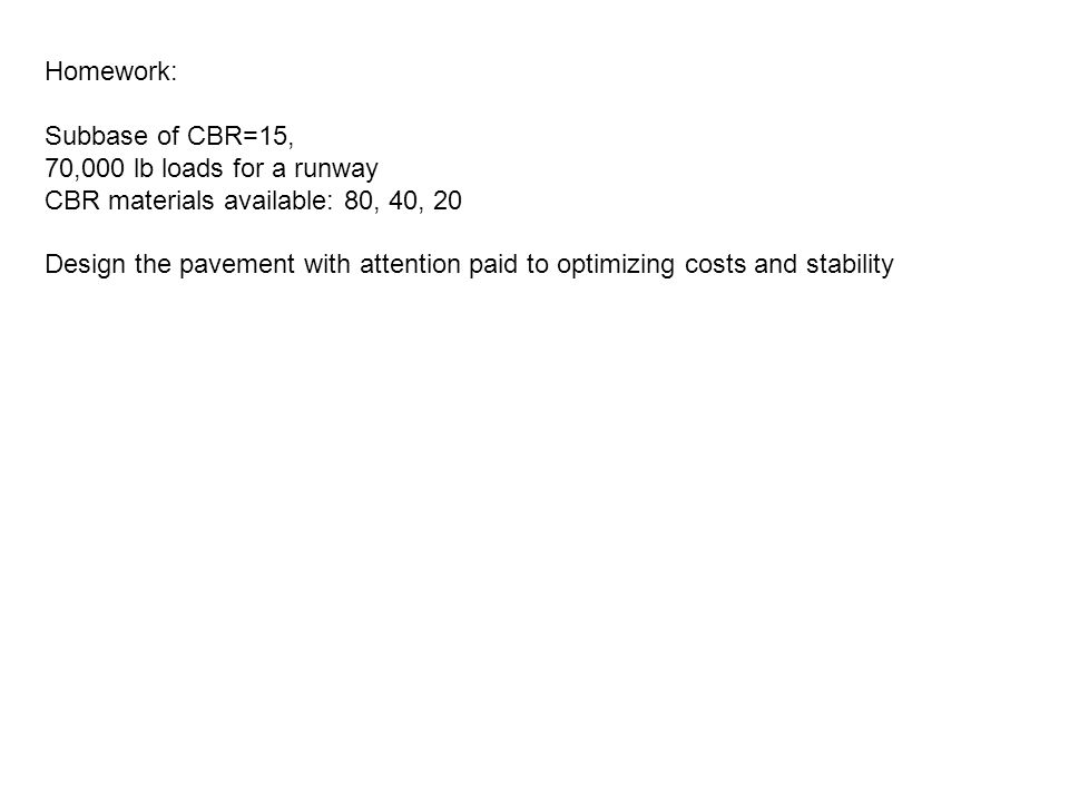 Homework: Subbase of CBR=15, 70,000 lb loads for a runway. CBR materials available: 80, 40, 20.