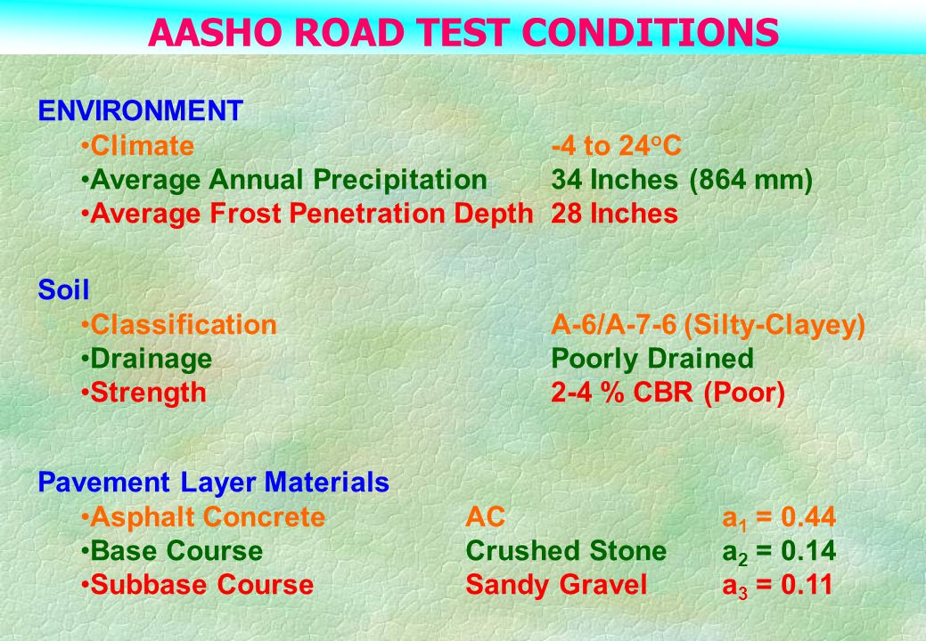 AASHO ROAD TEST CONDITIONS