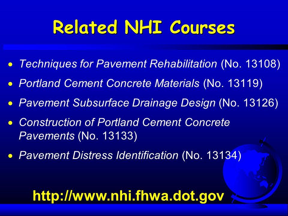 Related NHI Courses http://www.nhi.fhwa.dot.gov