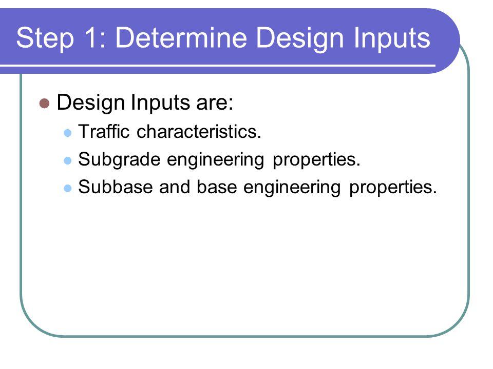Step 1: Determine Design Inputs