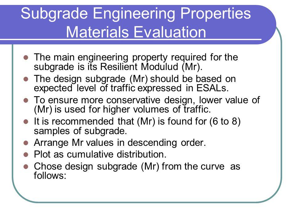 Subgrade Engineering Properties Materials Evaluation