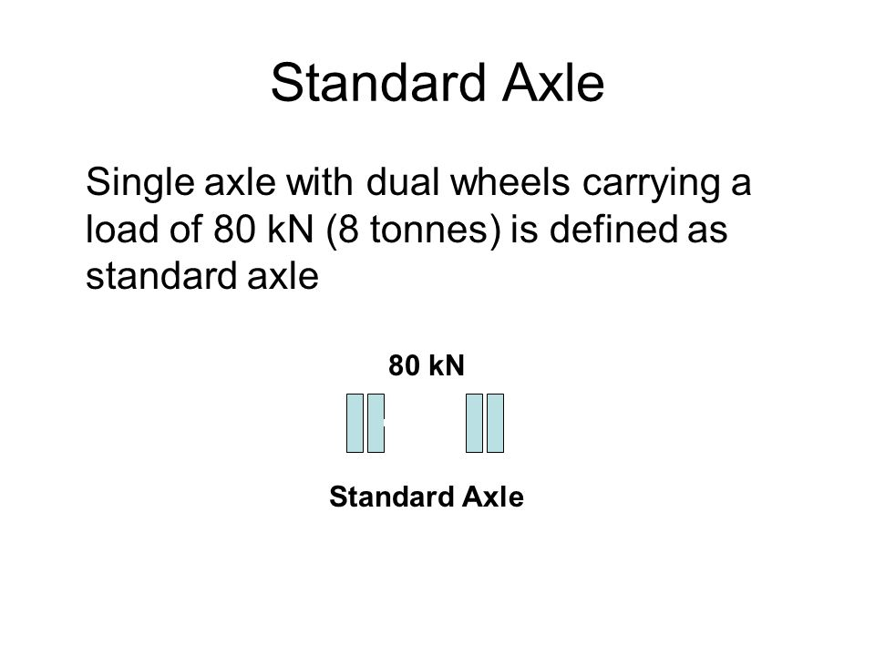 Standard Axle Single axle with dual wheels carrying a load of 80 kN (8 tonnes) is defined as standard axle.