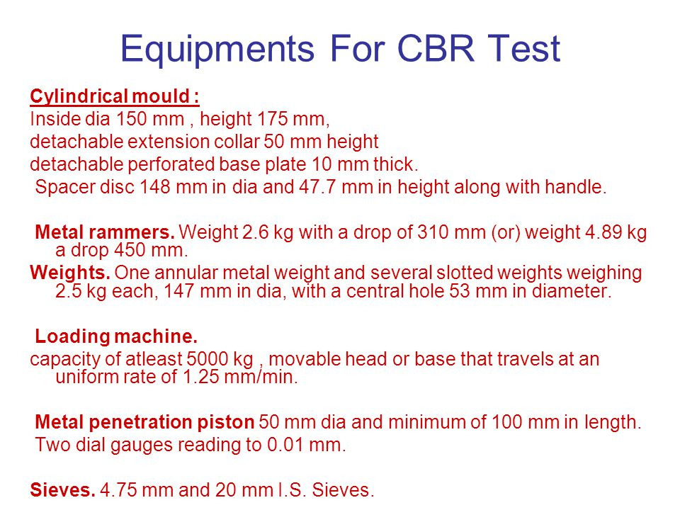 Equipments For CBR Test
