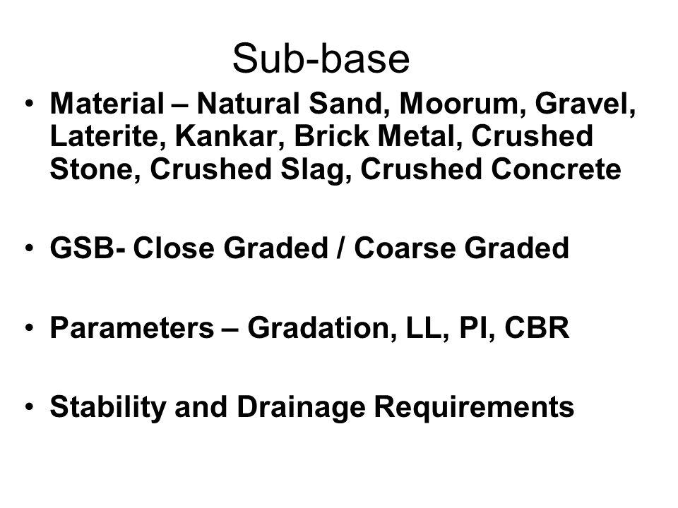 Sub-base Material – Natural Sand, Moorum, Gravel, Laterite, Kankar, Brick Metal, Crushed Stone, Crushed Slag, Crushed Concrete.