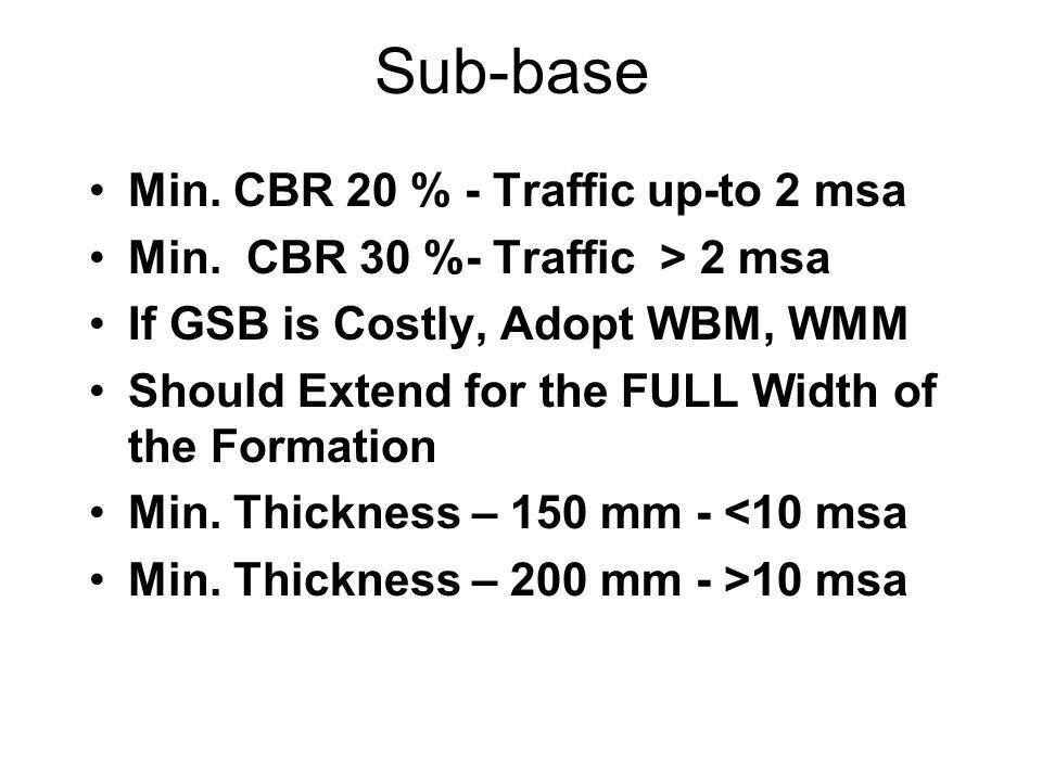 Sub-base Min. CBR 20 % - Traffic up-to 2 msa