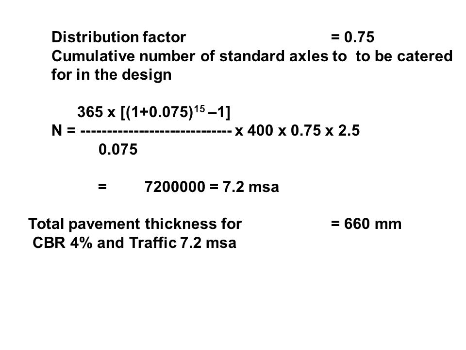 Distribution factor = 0.75 Cumulative number of standard axles to to be catered for in the design.