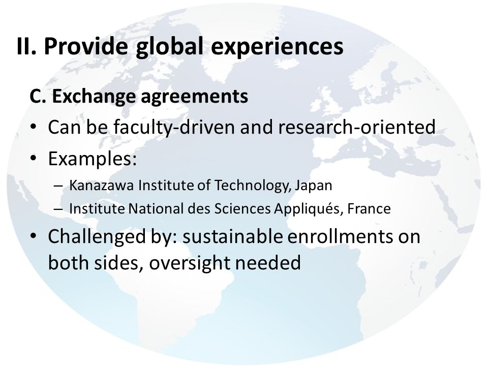 II. Provide global experiences
