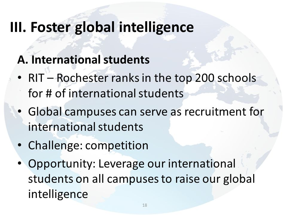 III. Foster global intelligence