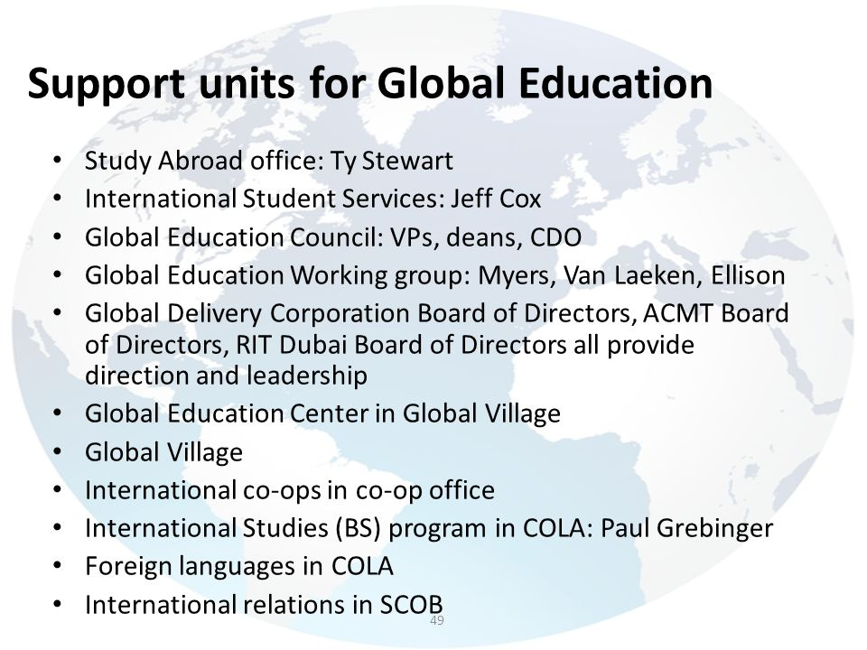 Support units for Global Education