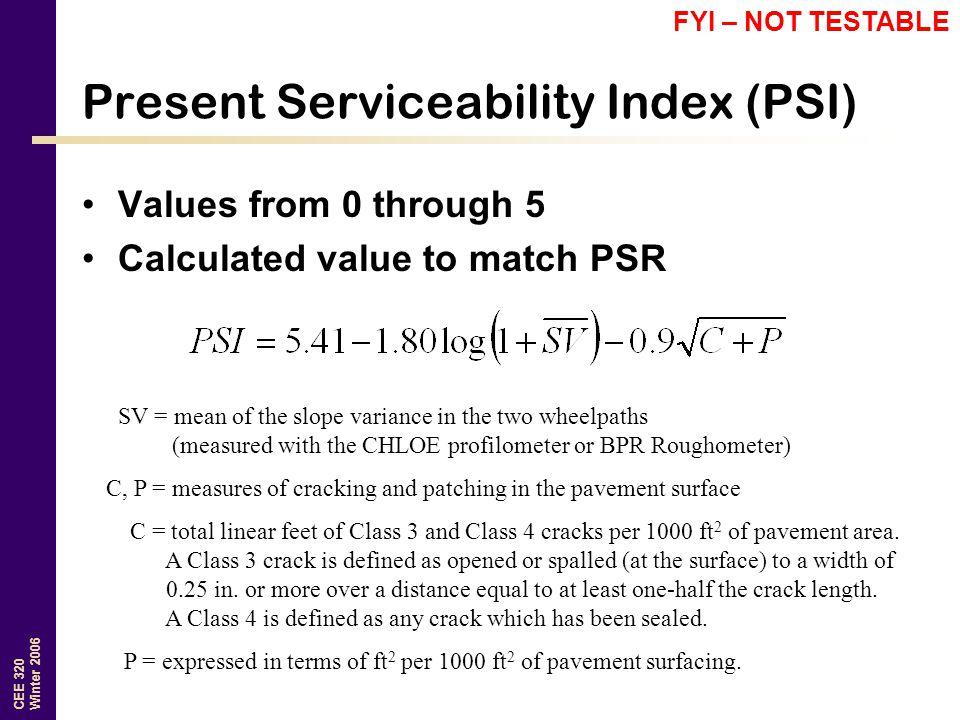 Present Serviceability Index (PSI)