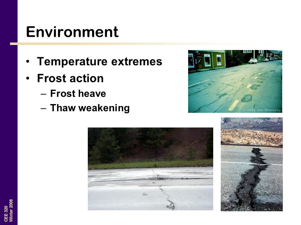 Environment Temperature extremes Frost action Frost heave