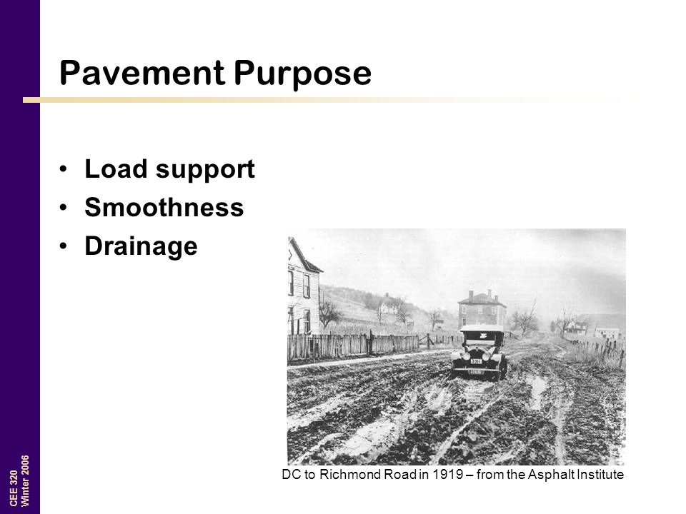 Pavement Purpose Load support Smoothness Drainage