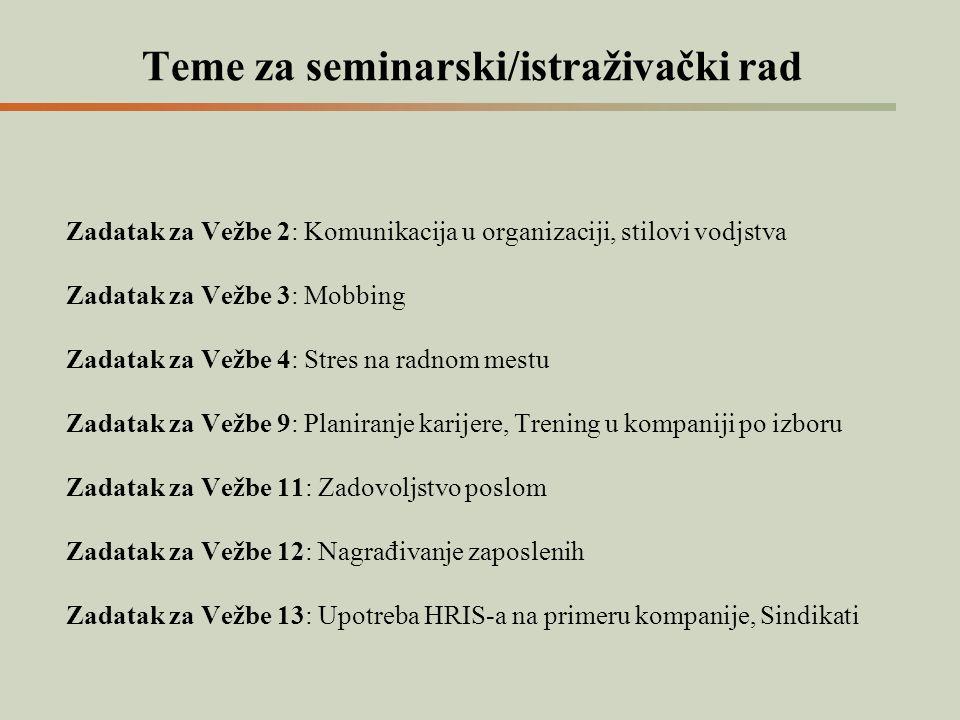 Teme za seminarski/istraživački rad