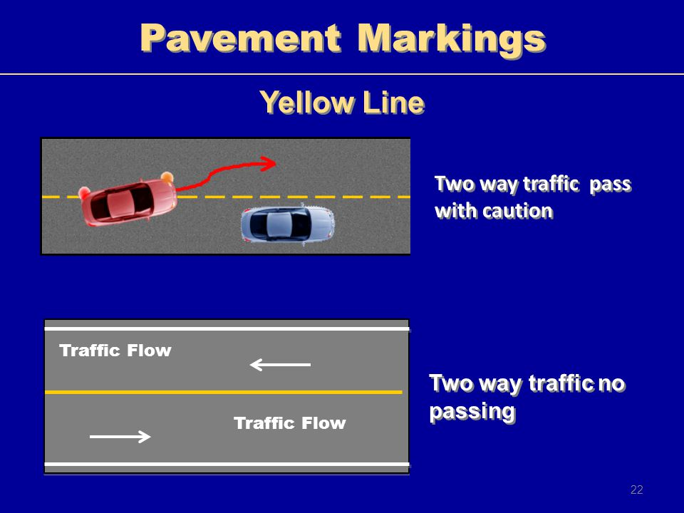 Pavement Markings Yellow Line Two way traffic pass with caution