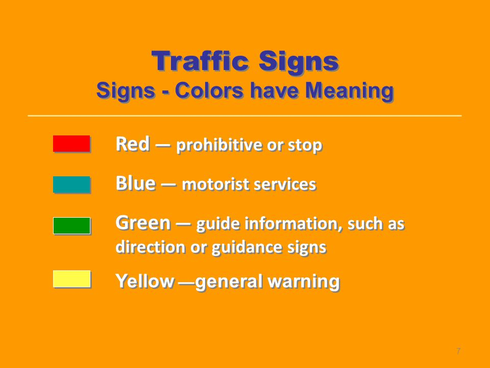 Signs - Colors have Meaning