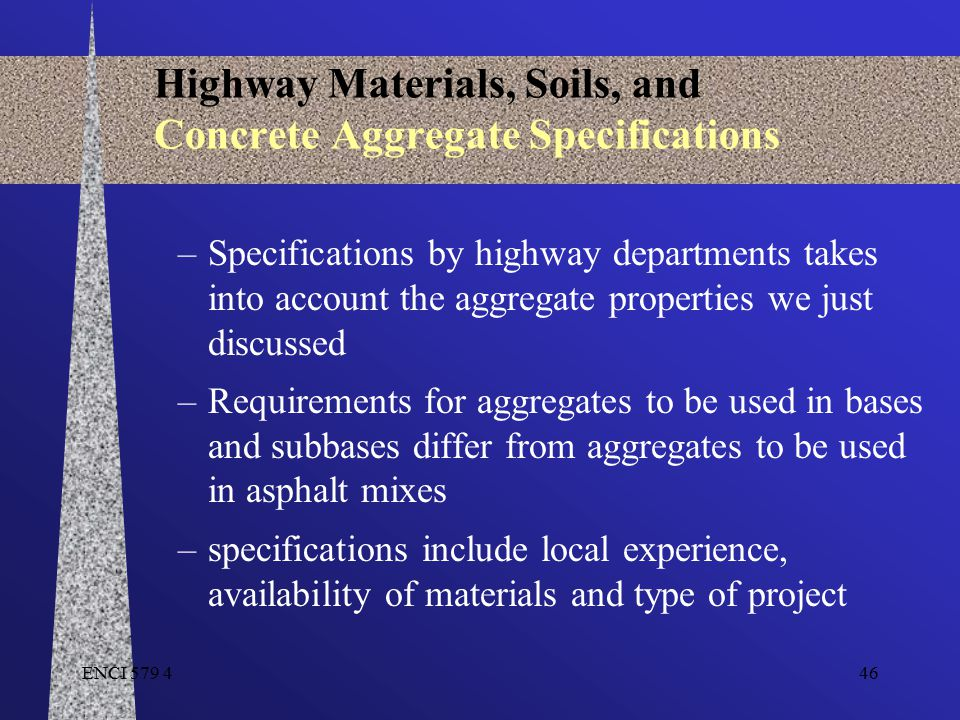 Highway Materials, Soils, and Concrete Aggregate Specifications