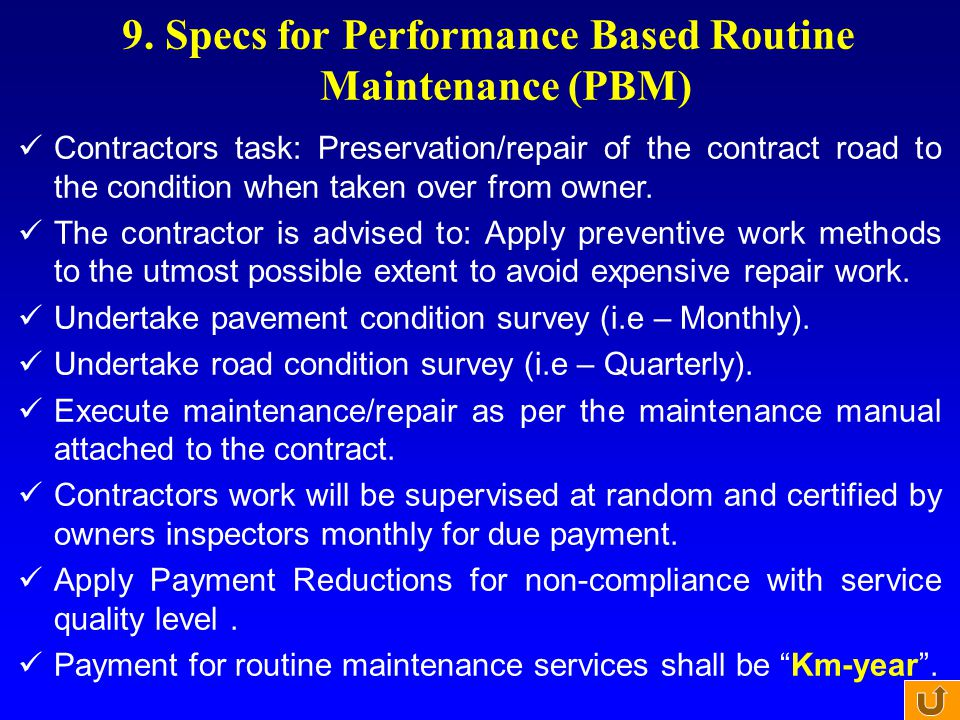 9. Specs for Performance Based Routine Maintenance (PBM)