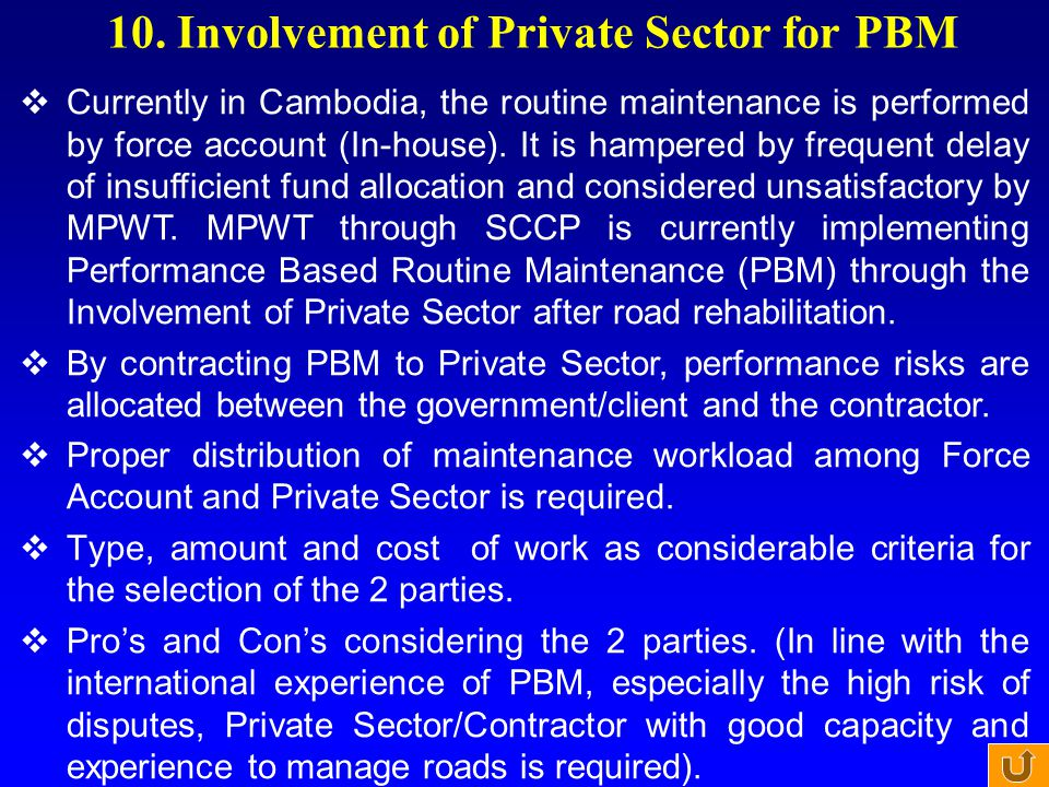 10. Involvement of Private Sector for PBM