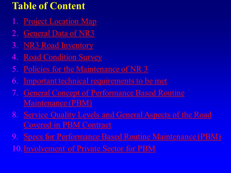 Table of Content Project Location Map General Data of NR3