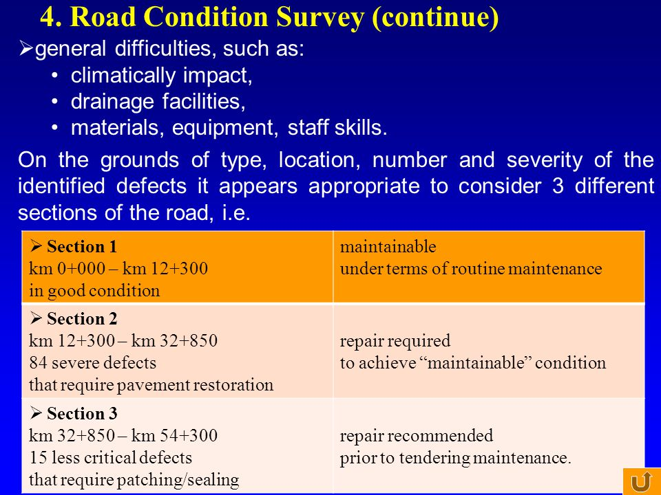 4. Road Condition Survey (continue)