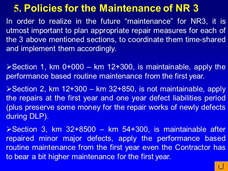 5. Policies for the Maintenance of NR 3