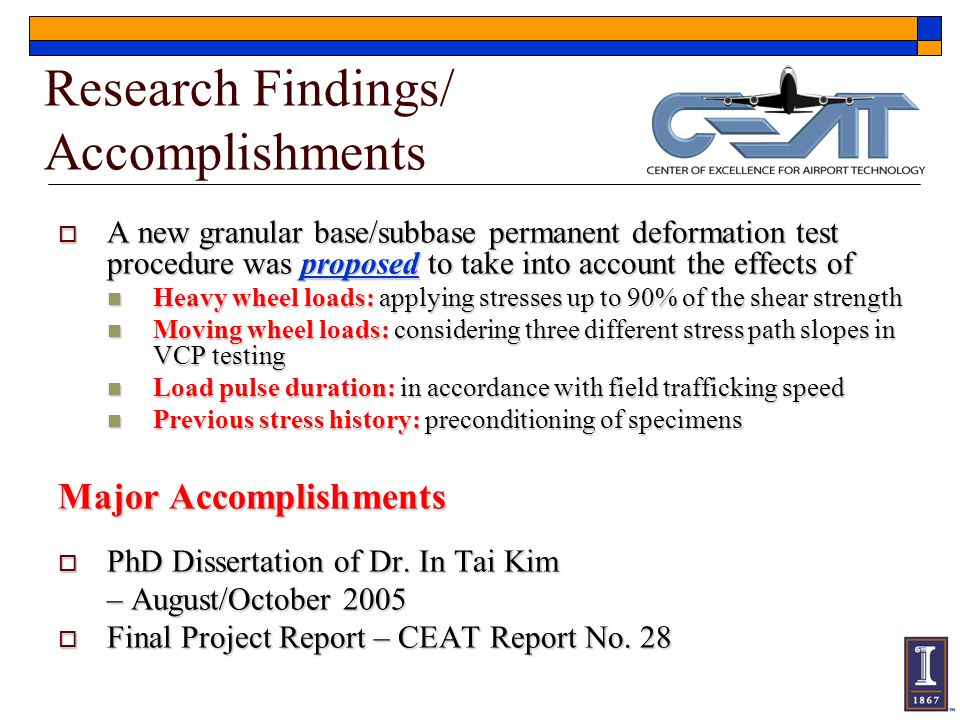 Research Findings/ Accomplishments