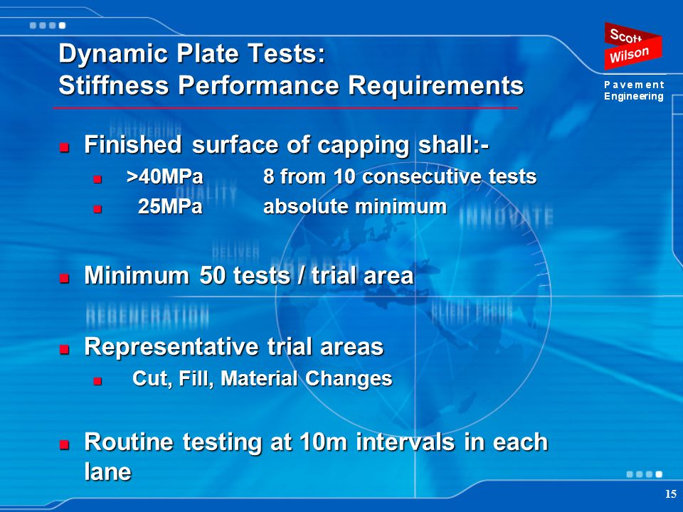 Dynamic Plate Tests: Stiffness Performance Requirements
