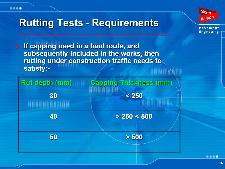 Rutting Tests - Requirements