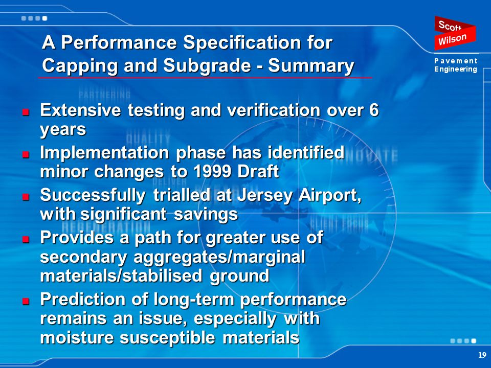 A Performance Specification for Capping and Subgrade - Summary