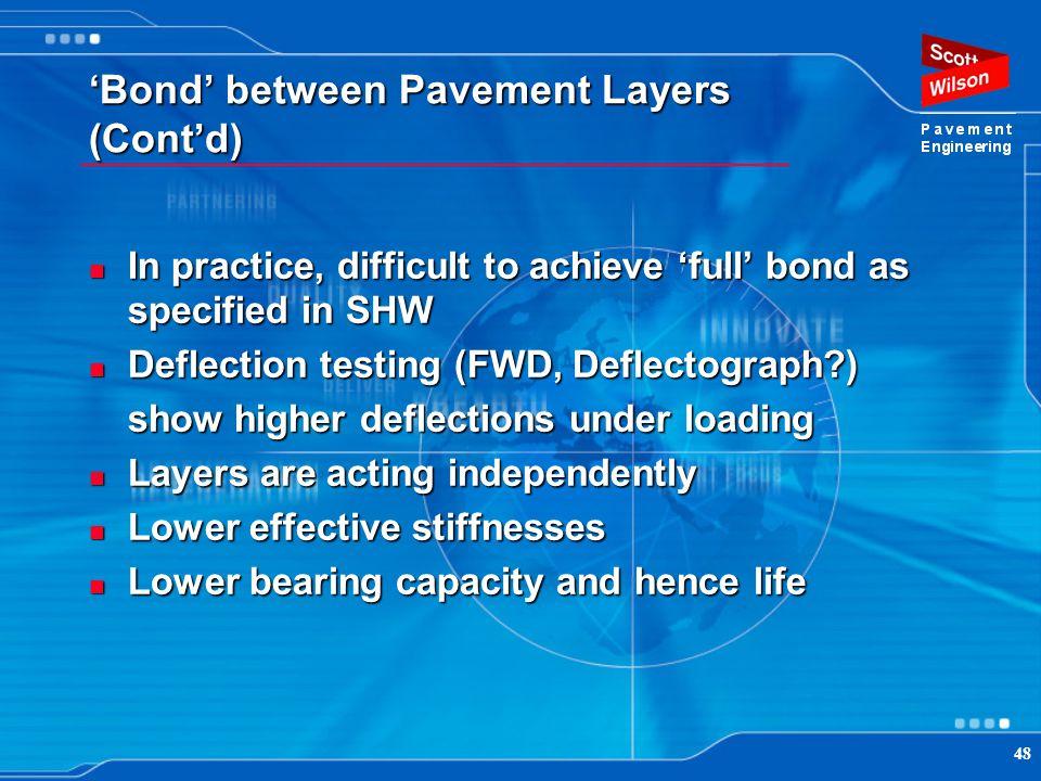 'Bond' between Pavement Layers (Cont'd)